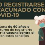 Empieza registro de adultos mayores para vacuna contra la COVID19